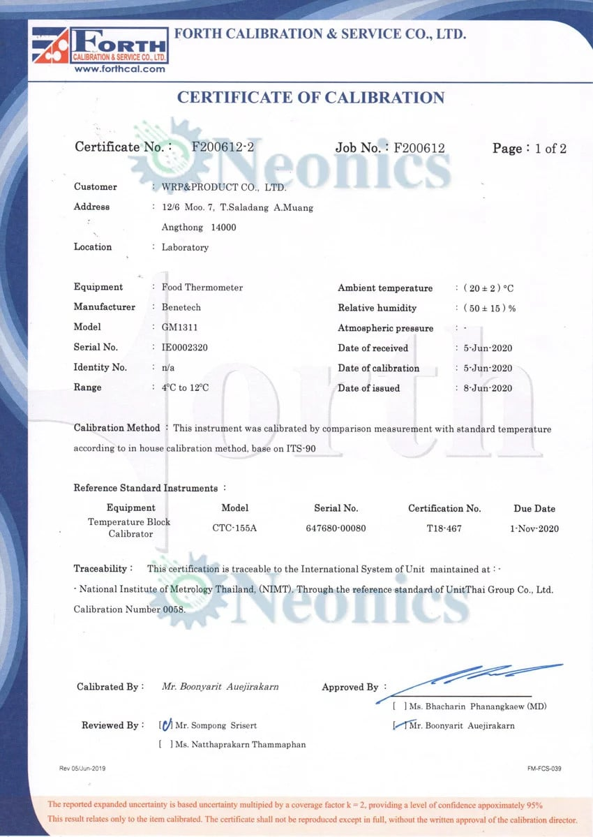 GM1311 certificate of calibration